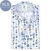 Extra Long Sleeves. White graphic print organic cotton shirt.