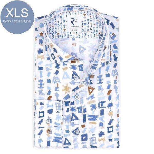 R2 Extra Long Sleeves. White graphic print organic cotton shirt.