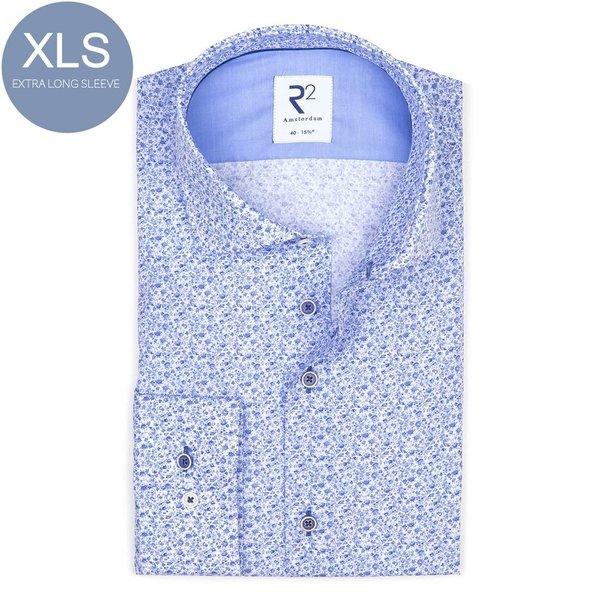 R2 Extra Long Sleeves. Blue flower print cotton shirt.