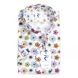R2 Short sleeve white flower print cotton shirt.