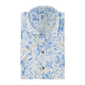 R2 Short sleeves floral print linen shirt.
