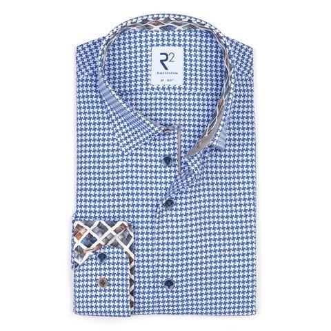 Blue Pied-de-poule cotton shirt.