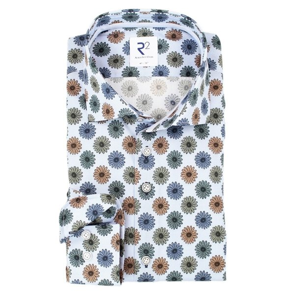 R2 Light blue floral print 2 PLY cotton shirt.