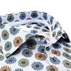 Light blue floral print 2 PLY cotton shirt.