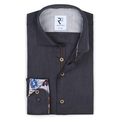 Anthracite cotton shirt.