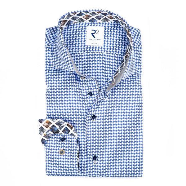 R2 Blue Pied-de-poule cotton shirt.
