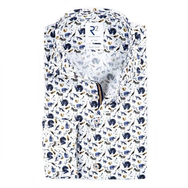 R2 Multicolour animal print cotton shirt.