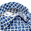 White blue graphical print cotton shirt.