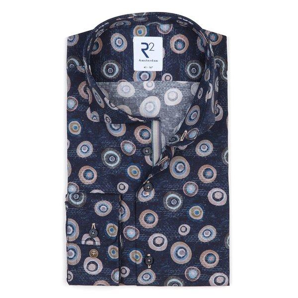 R2 Dark blue graphical print cotton shirt.