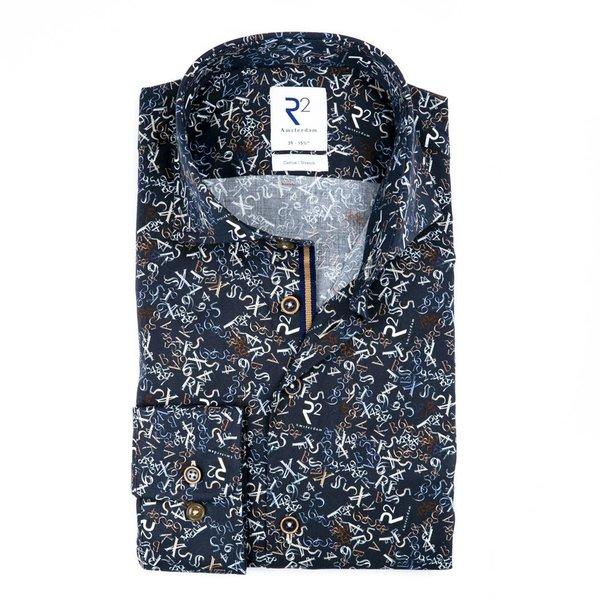 R2 Dark blue letter- digit cotton shirt.