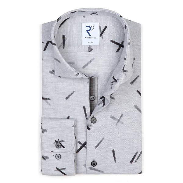 R2 Grey graphical print Flannel cotton shirt.