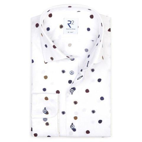White dot print 2 PLY organic cotton shirt.