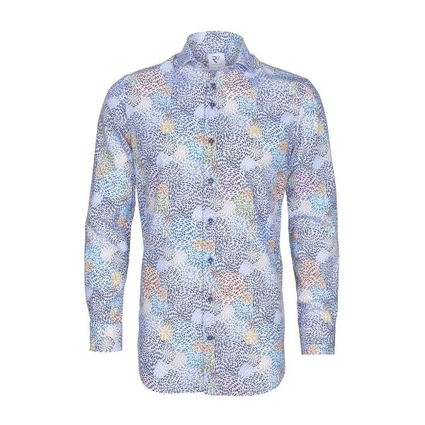 R2 White with graphical print cotton shirt.