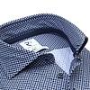 Dark blue graphical print 4-way stretch shirt.
