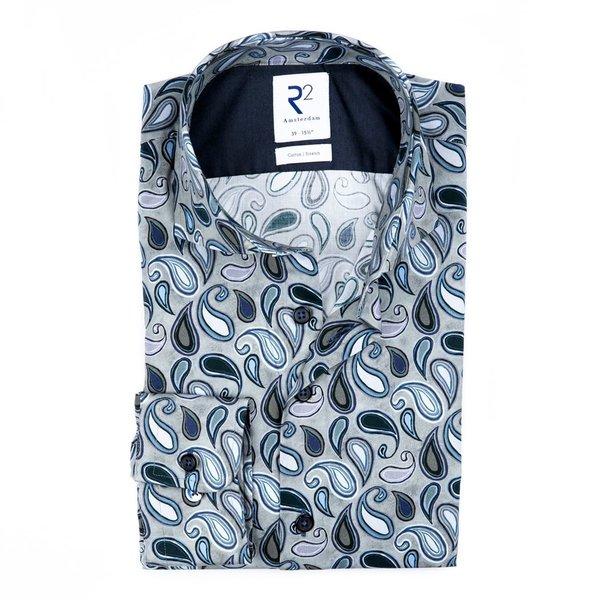 R2 Grey paisley print cotton shirt.