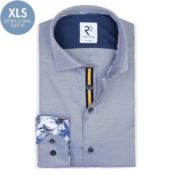 R2 Extra Long Sleeves. Blue cotton shirt.
