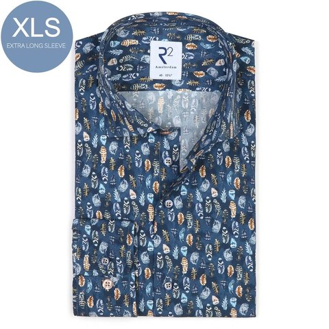 Extra Long Sleeves. Blue feather print 2 PLY cotton shirt.