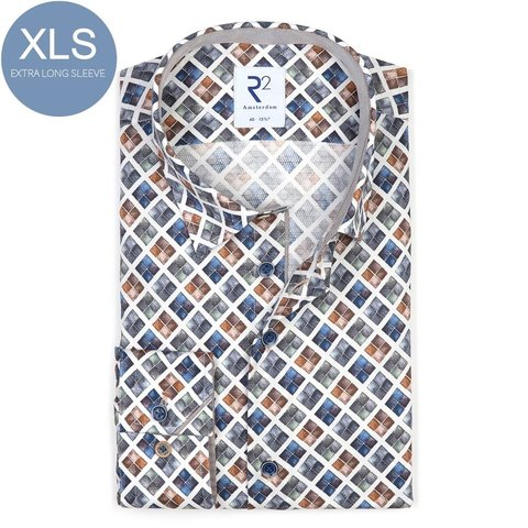 Extra Long Sleeves. White with graphical print cotton shirt.