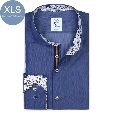 Extra Long Sleeves. Blue Herringbone cotton shirt.