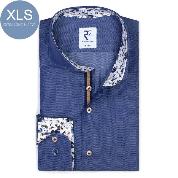 R2 Extra Long Sleeves. Blue Herringbone cotton shirt.