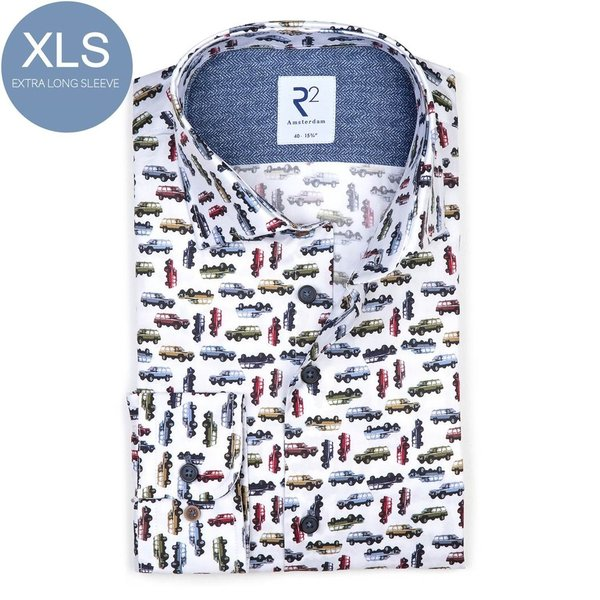 R2 Extra Long Sleeves. White Jeep print 2 PLY organic cotton shirt.