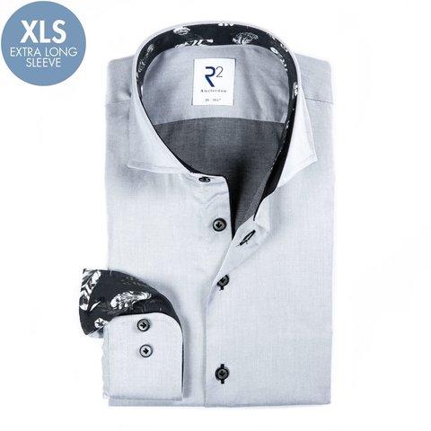 Extra Long Sleeves. Grey cotton shirt.