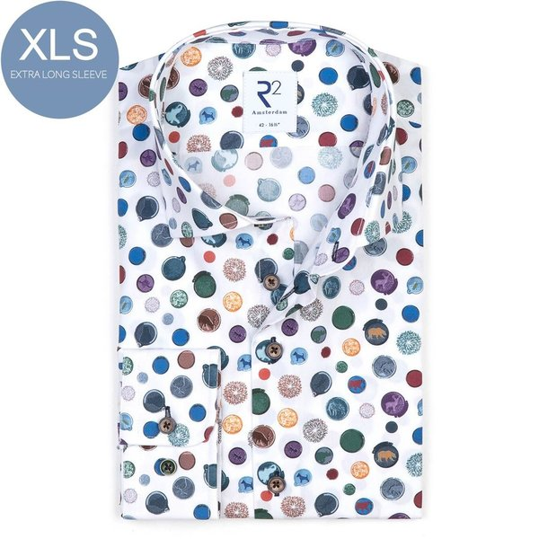 R2 Extra Long Sleeves. White dots cotton shirt.