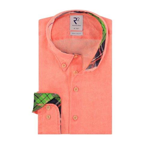 Neon oranje linnen overhemd.