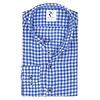 Blue checkered linen shirt.