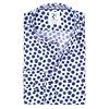 Blue polka dot print linen shirt.