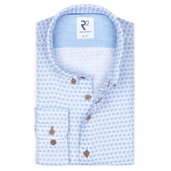 R2 Light blue floral print linen shirt.