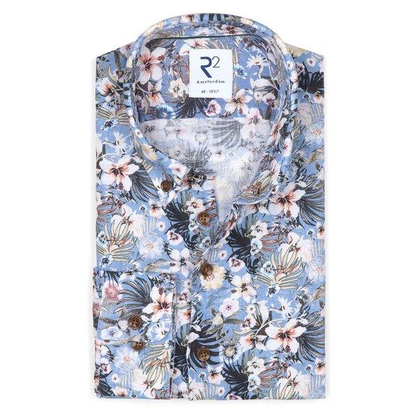 R2 Multicolour floral print linen shirt.