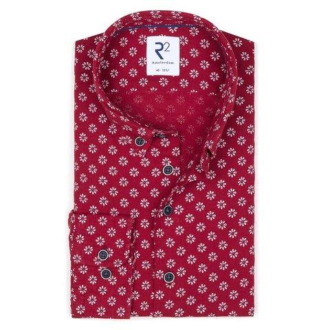 Red floral print linen/cotton shirt.