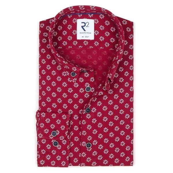 R2 Red floral print linen/cotton shirt.