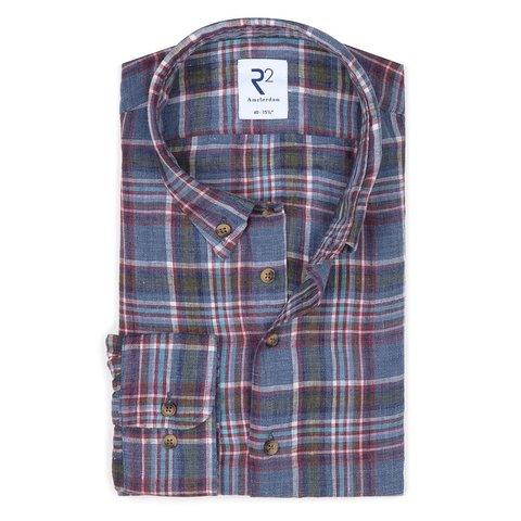 Multicolour checkered linen shirt.