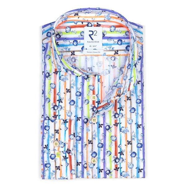 R2 White striped seersucker cotton shirt.