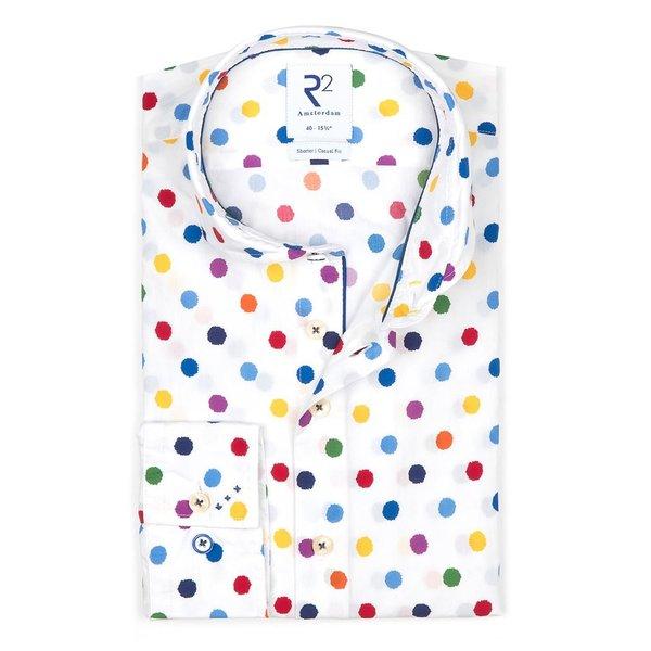 R2 Multicolour dots print cotton shirt.