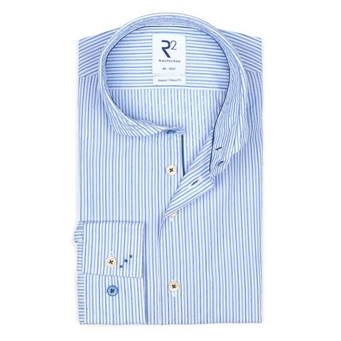 Light blue striped cotton shirt.