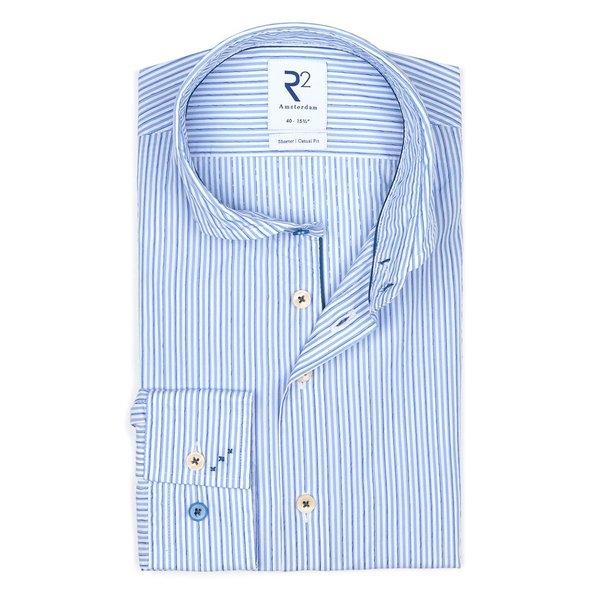 R2 Light blue striped cotton shirt.