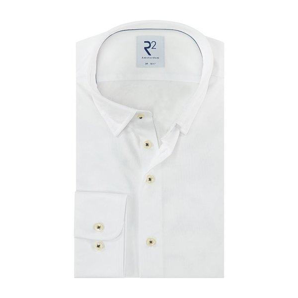R2 White piquet cotton shirt.