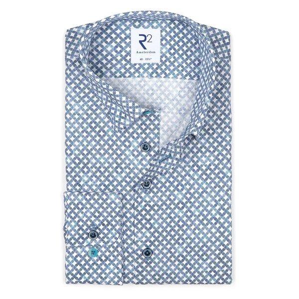 R2 White graphic print dobby cotton shirt.