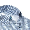 White graphic print dobby cotton shirt.