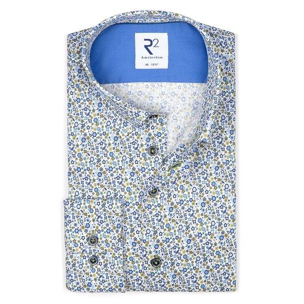 R2 White flower print dobby cotton shirt.