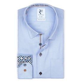 R2 Blauw pied de poule organic cotton overhemd.