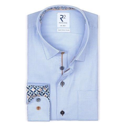 Blue pied de poule organic cotton shirt.