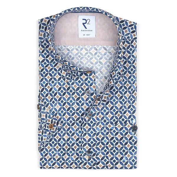 R2 Short sleeves blue graphic print dobby cotton shirt.