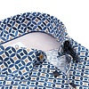 Short sleeves blue graphic print dobby cotton shirt.