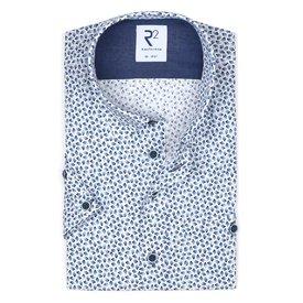 R2 Short sleeves blue graphic print cotton shirt.