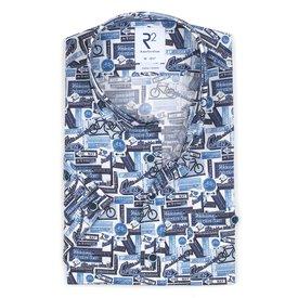 R2 Short sleeves blue cycling print stretch cotton shirt.