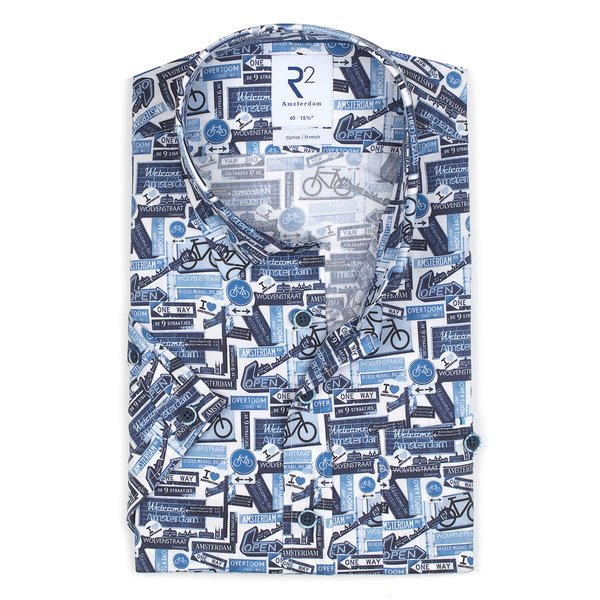 R2 Korte mouwen blauw fietsprint stretch katoenen overhemd.